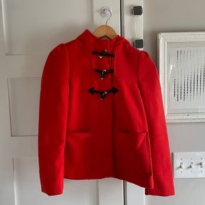 Red H&M Wool Toggle Coat - Size 2